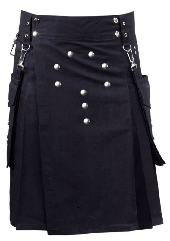 38 Waist Scottish/Gothic Active Men Cargo Pocket Front Buttons Cotton Utility Kilt For Men
