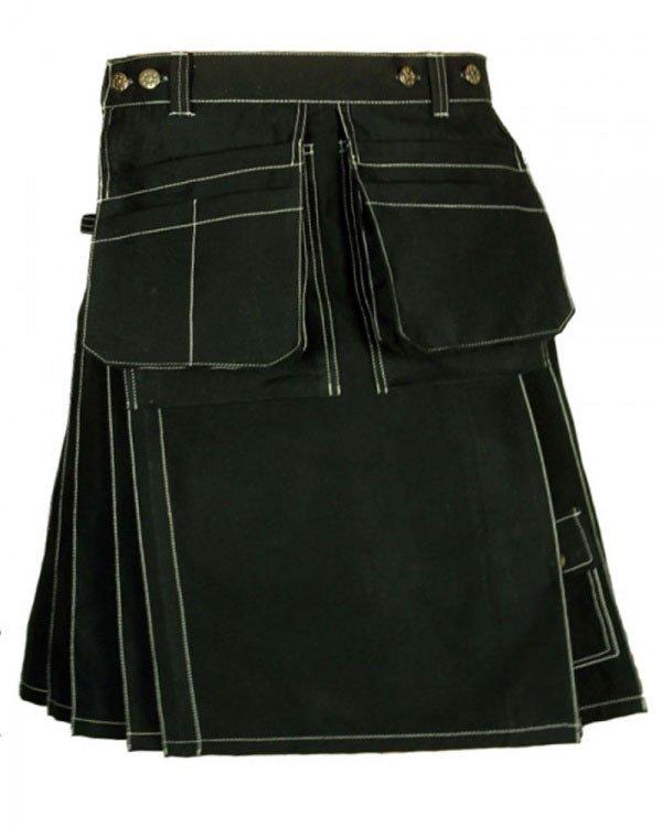"""42"""" Waist Scottish Active Men Black Utility kilt Work wear kilt for Working Men"""