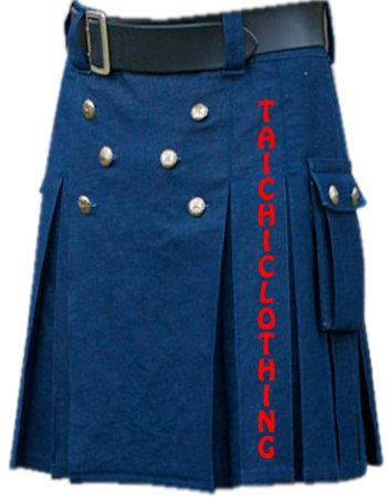 "54"" Waist Scottish Highlander Active Men Blue Utility Deluxe Quality kilt"