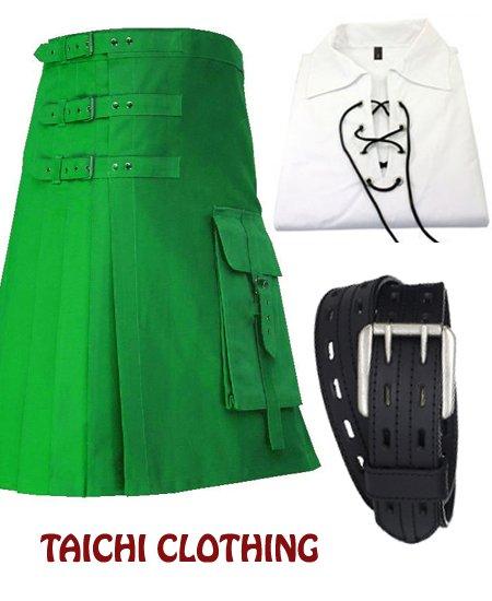 46 Size Gothic Green Brutal Grace Kilt for Active Men With White Jacobite Shirt & Belt