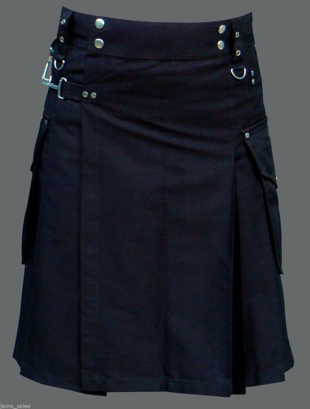 Men 42 Waist Handmade Black Deluxe Utility Kilt 100% Cotton With Cargo Pockets