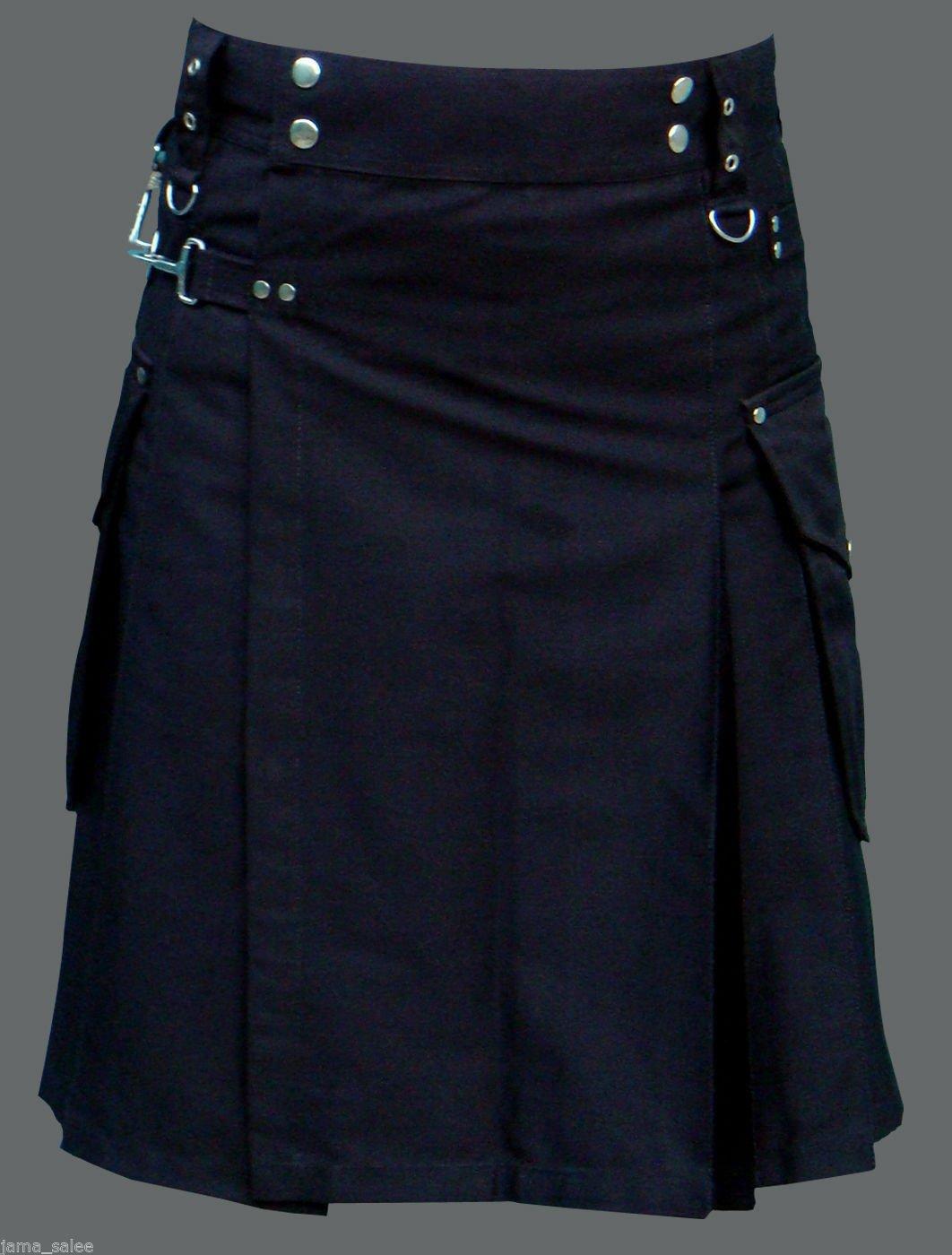 Men 52 Waist Handmade Black Deluxe Utility Kilt 100% Cotton With Cargo Pockets