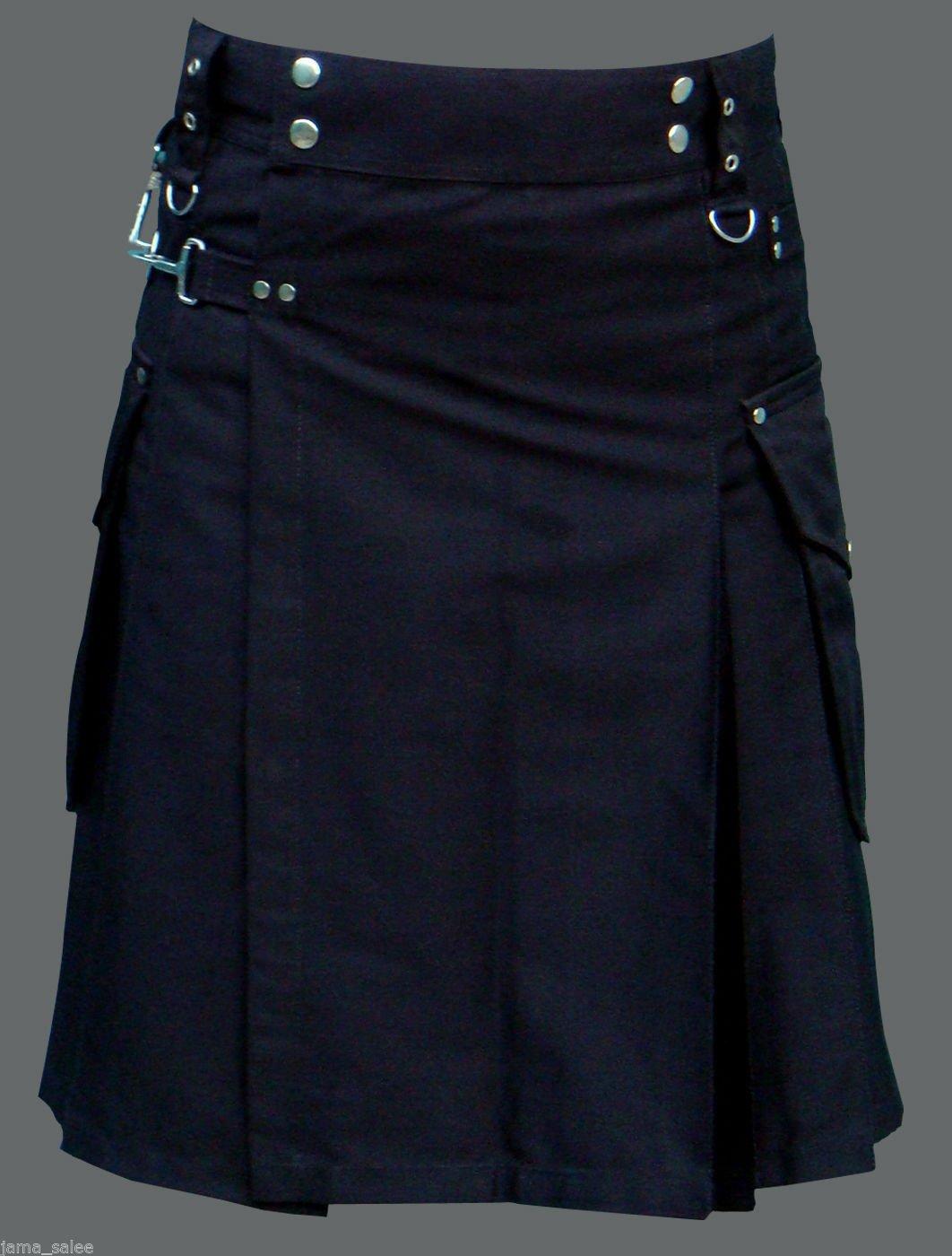 Men 60 Waist Handmade Black Deluxe Utility Kilt 100% Cotton With Cargo Pockets