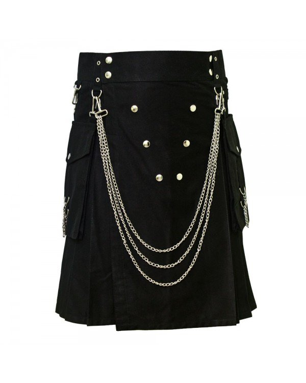 Men's 50 Size Handmade Black Utility Kilt With Silver Chrome Chains