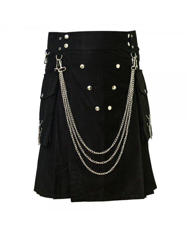 Men's 56 Size Handmade Black Utility Kilt With Silver Chrome Chains