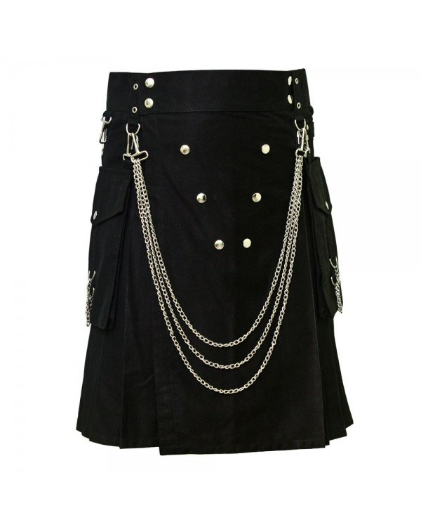 Men's 60 Size Handmade Black Utility Kilt With Silver Chrome Chains