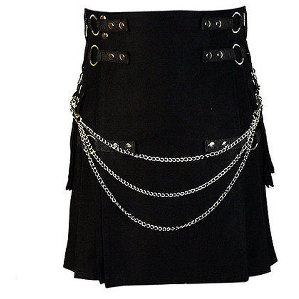 Waist 38 Men's Handmade Gothic Style Black Utility Kilt With Silver Chrome Chains