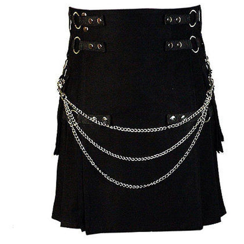 Waist 52 Men's Handmade Gothic Style Black Utility Kilt With Silver Chrome Chains