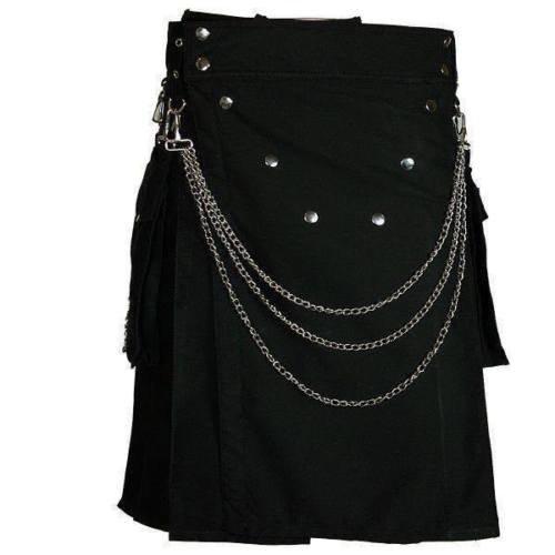 56 Size Men's Handmade Gothic Style Black Utility Cotton Kilt With Silver Chrome Chains