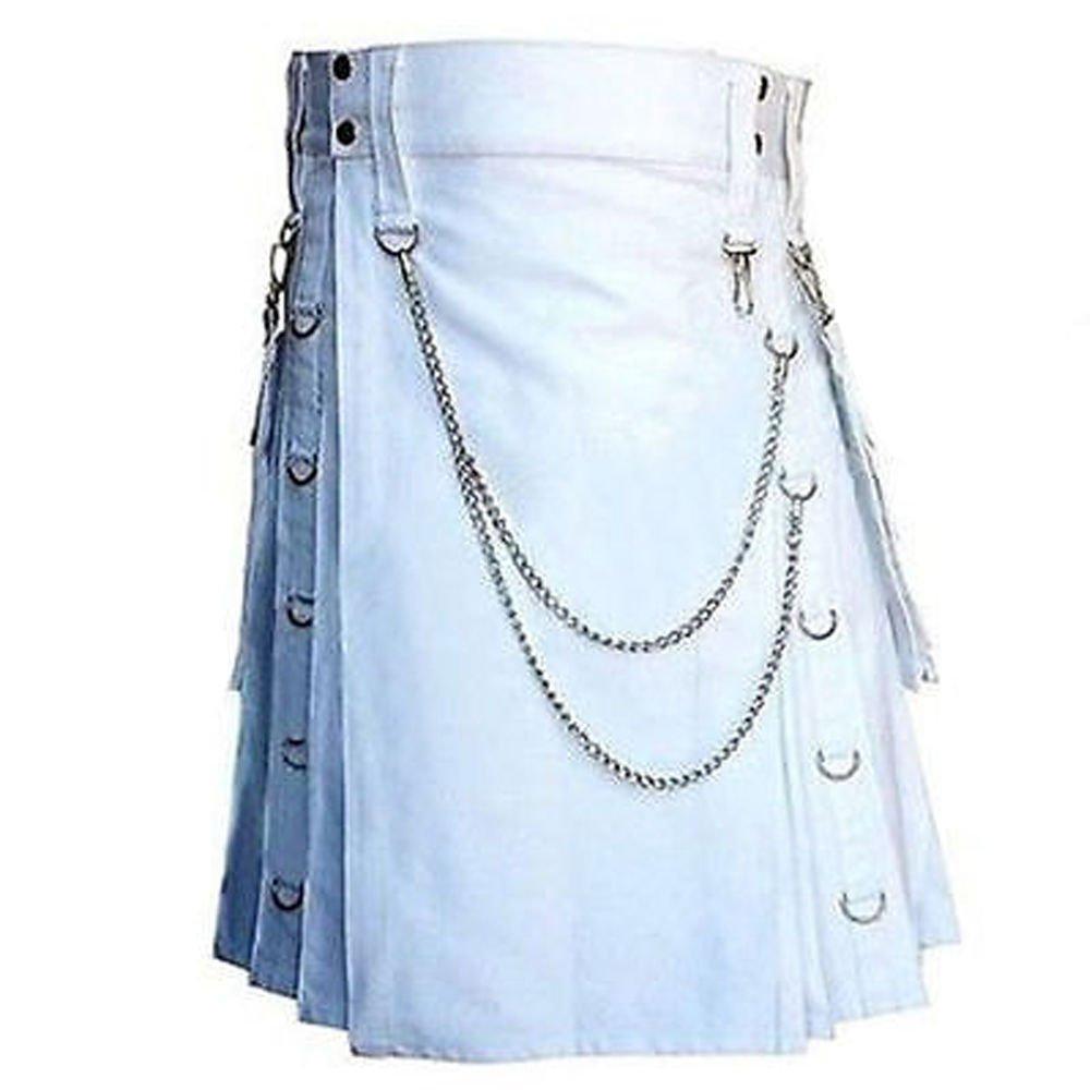 Men's 50 Waist Handmade Gothic Style White Utility Cotton Kilt With Silver Chrome Chains