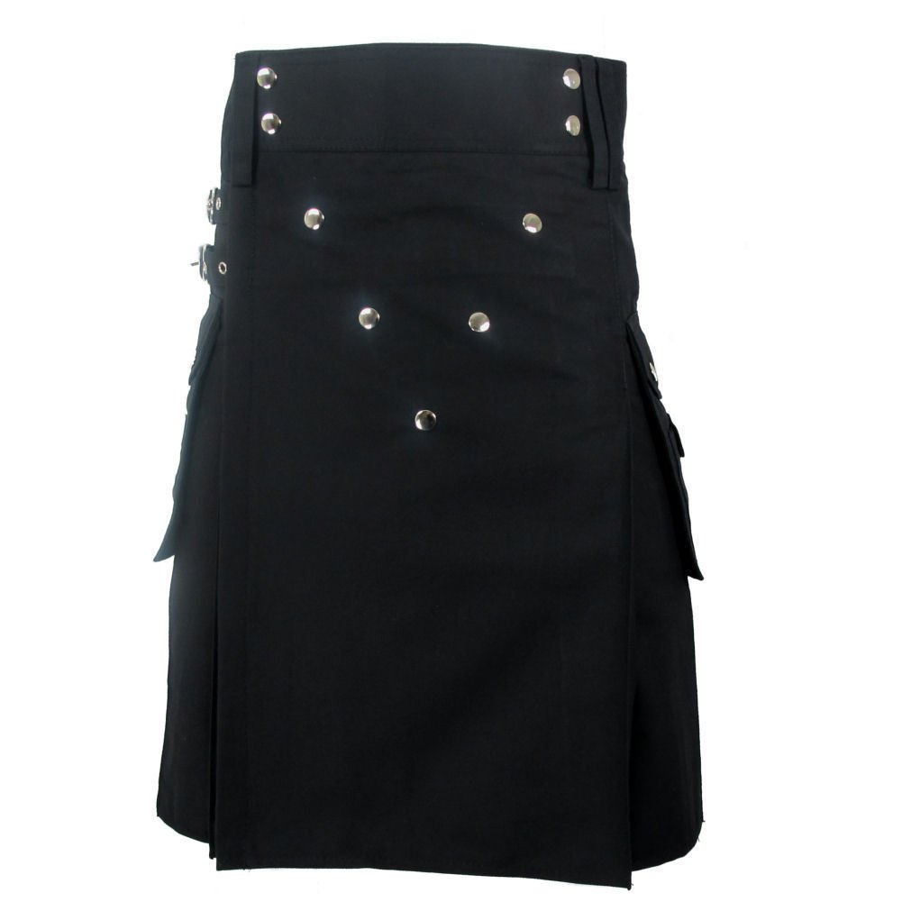 New Taichi Men's Deluxe Black Heavy 100% Cotton Utility Kilt Chrome Studs