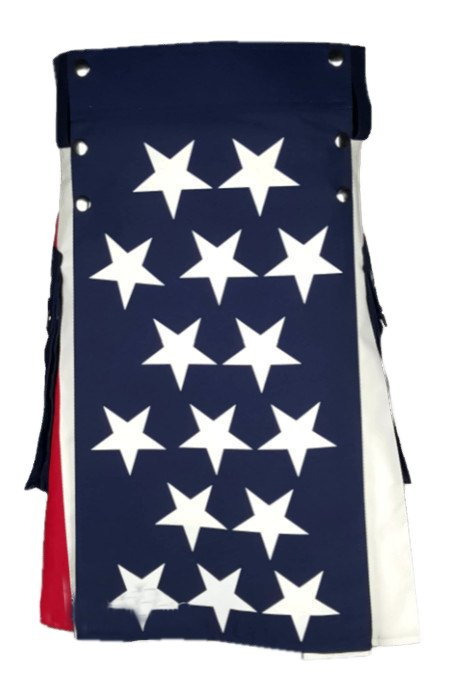 42 Size American USA Flag Hybrid Utility Kilt With Cargo Pockets Fashion Kilt with Custom Patterns