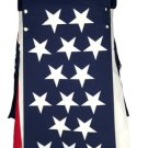 48 Size American USA Flag Hybrid Utility Kilt With Cargo Pockets Fashion Kilt with Custom Patterns