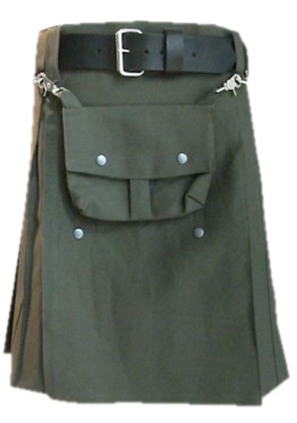 Olive Green Cotton Utility Kilt, 32 Size Front Cotton Sporran Tactical Duty Utility Kilt