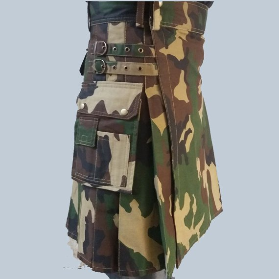 Size 60 Deluxe Quality Regular Army camo unisex adult cotton kilt