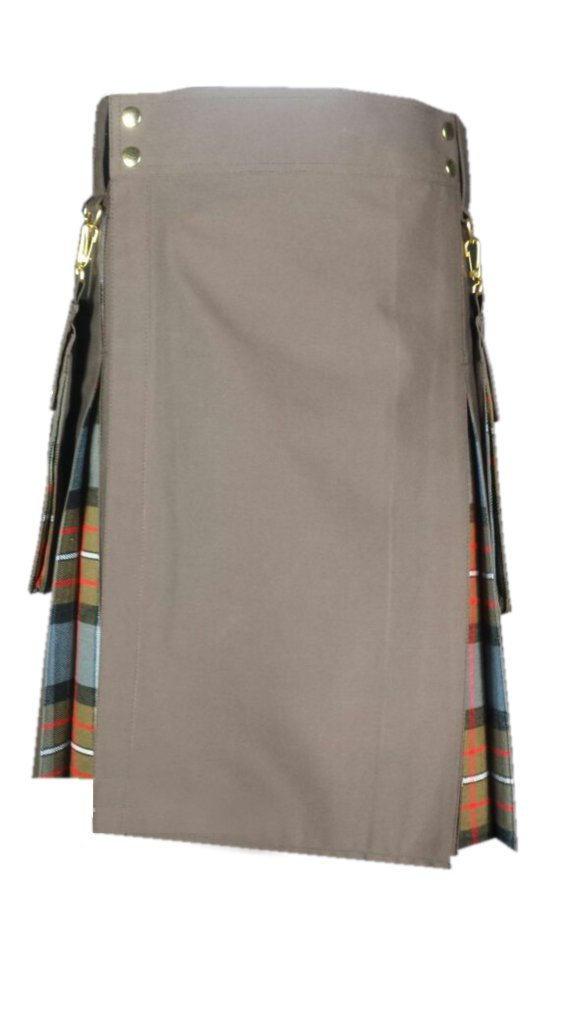 "54"" Brown Hybrid Kilt ,Royal Stewart,Black Watch,Irish National,Gray Tartan,Black Stewart,Wallace"