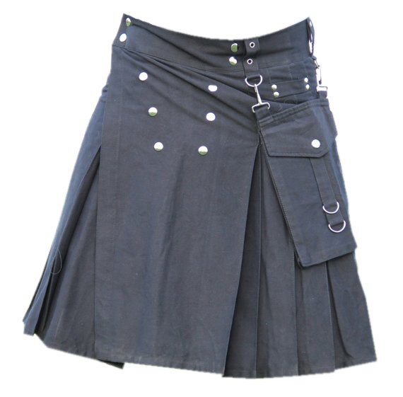 34 Size Men,s Scottish Highlander Black Gothic style Cotton Utility Kilt, Front Studs Cotton Kilt