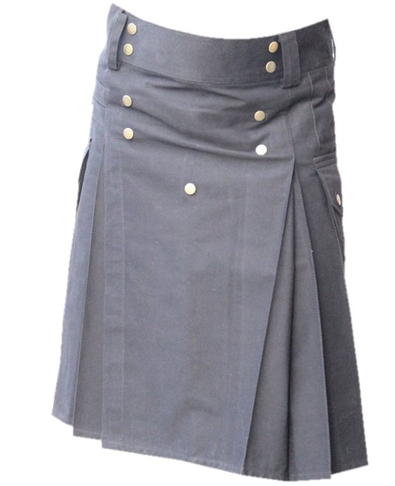 52 Waist Men,s Scottish Black Gothic style Cotton Utility Kilt, Front Studs Cotton Kilt