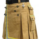 Size 50 New Custom Sizes Fireman Tactical Kilt Cotton Khaki Utility Duty Kilt