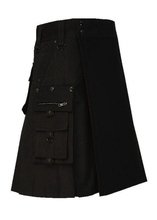 New Men's 54 Size Handmade Scottish Cotton Gothic Black fashion Utility kilt