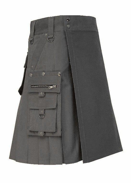 New Men's 38 Waist Handmade Scottish Cotton Gothic Grey Fashion Utility kilt