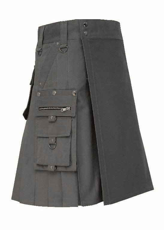 New Men's 54 Waist Handmade Scottish Cotton Gothic Grey Fashion Utility kilt