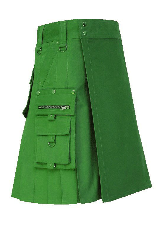 Men's 36 Waist Handmade Scottish Cotton Gothic Green Fashion Utility kilt