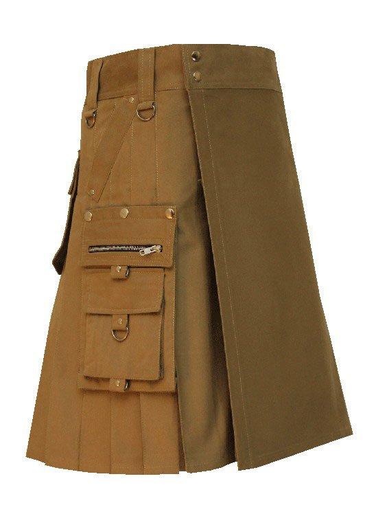 Men's 46 Size Handmade Scottish Cotton Gothic Khaki Fashion Utility kilt