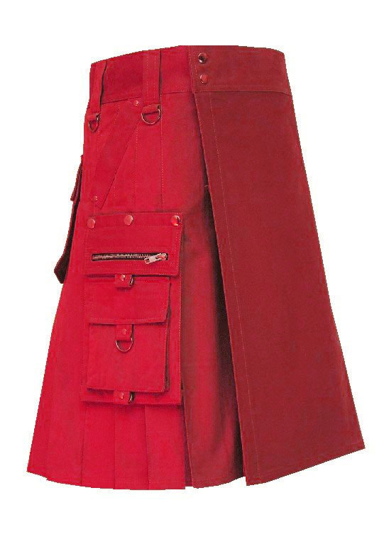 Men's 38 Size New Deluxe Scottish Cotton Gothic Khaki Fashion Utility kilt