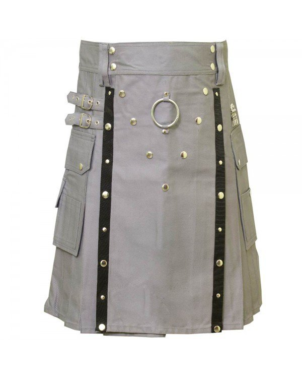 Men's Handmade 34 Size Grey Deluxe Cotton Gothic Fashion Utility kilt