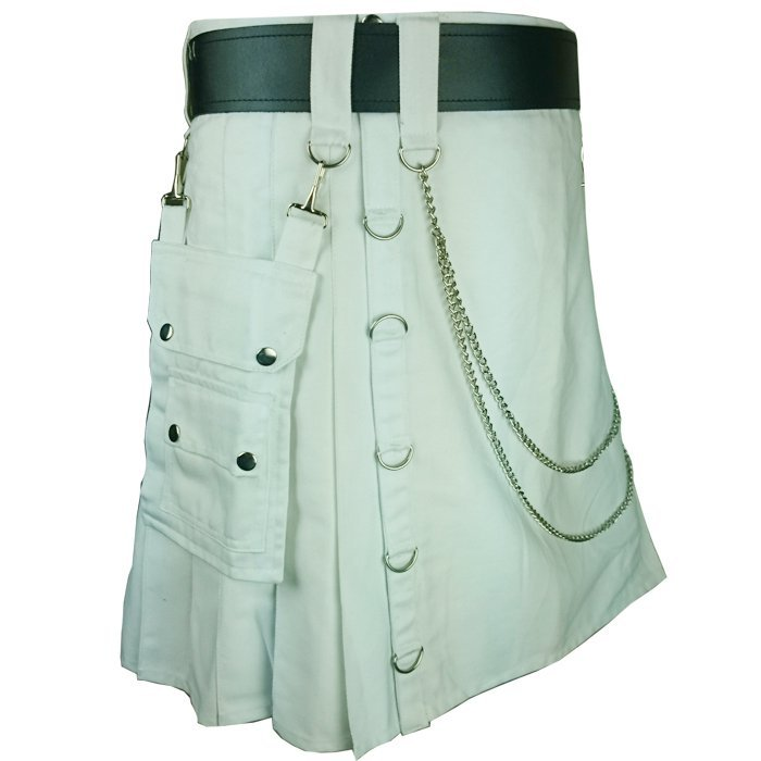 Olive Green Men's Handmade 54 Size Utility Cotton kilt With Chrome Chains
