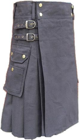 56 Size Men's Black Cotton Utility kilt Premium Quality Deluxe Custom Made Utility Kilt