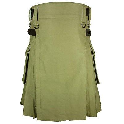 New Handmade Khaki Cotton Utility Kilt 46 Size Tactical Duty Kilt With Leather Straps