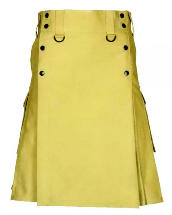 38 Waist Size Men,s Scottish Hinglander Handmade Slash Pocket Utility Kilt for Active Men