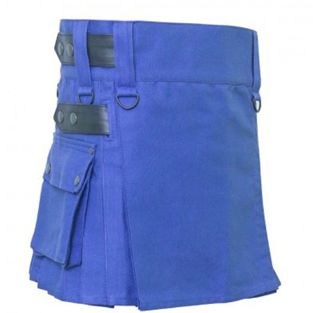 52 Size Scottish Tactical Deluxe Ladies Blue Cotton Kilt Skirt Style Cargo Pockets