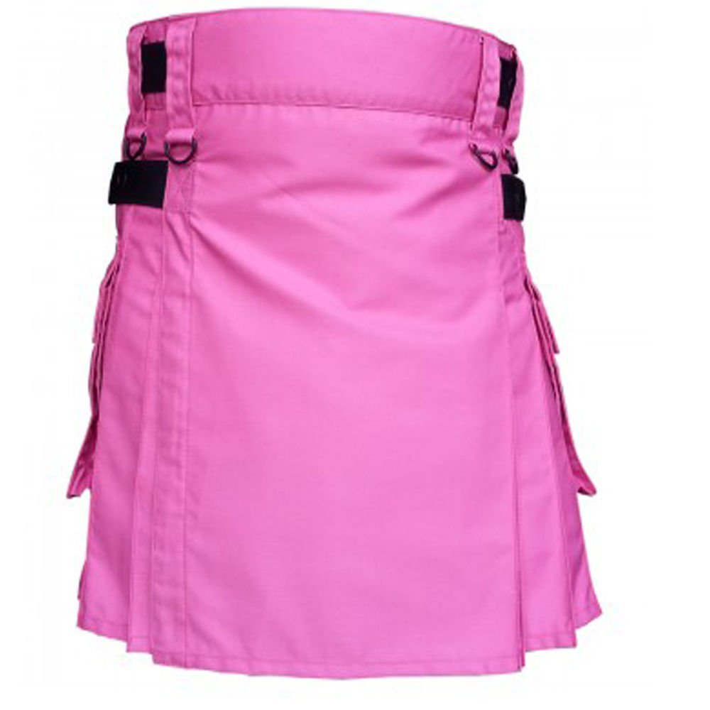 Waist 48 Scottish Tactical Deluxe Ladies Pink Cotton Kilt Skirt Style Cargo Pockets