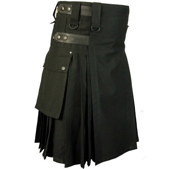 32 Size Tactical Duty Black Leather Straps Kilt, Handmade Black Cotton Utility Kilt