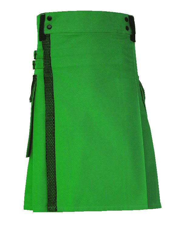 34 size Taichi Green Net Pocket Kilt for Active Men, Handmade Green Utility Deluxe Kilt