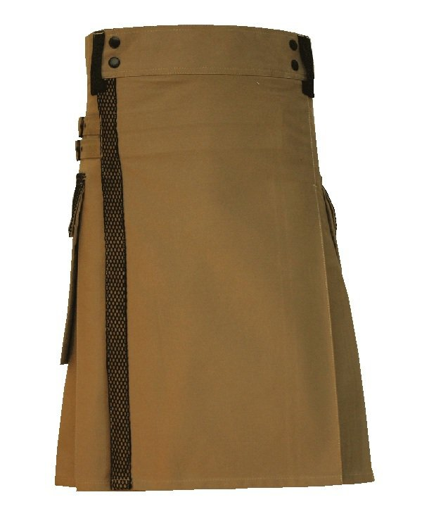 Taichi Khaki Net Pocket Kilt for Active Men, 56 Waist Handmade khaki Cotton Utility Deluxe Kilt