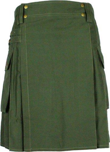 36 Waist Taichi Olive Green Kilt for Active Men, Handmade Olive Green Cotton Utility Deluxe Kilt