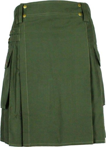 54 Waist Taichi Olive Green Kilt for Active Men, Handmade Olive Green Cotton Utility Deluxe Kilt