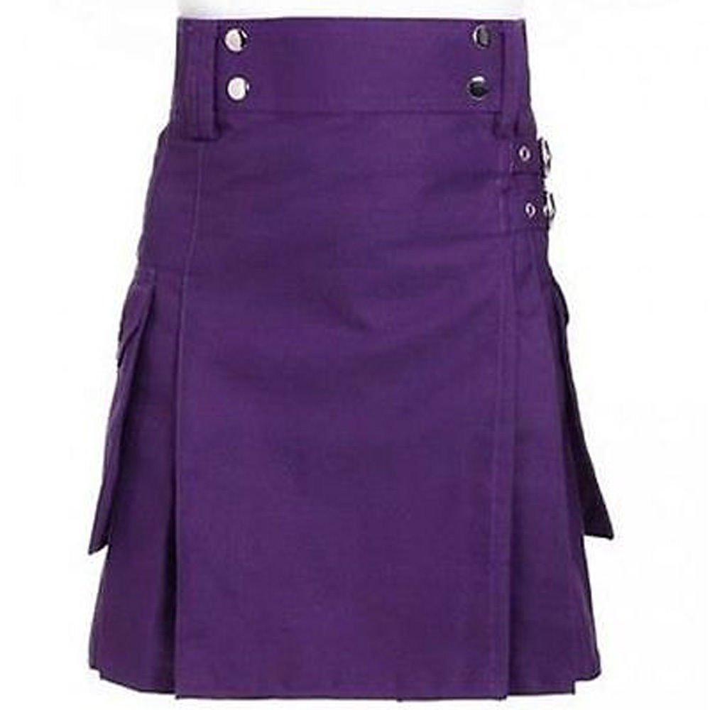 "32"" New Handmade Purple Cotton Kilt for Active Men, Purple Cotton Utility Deluxe Kilt"