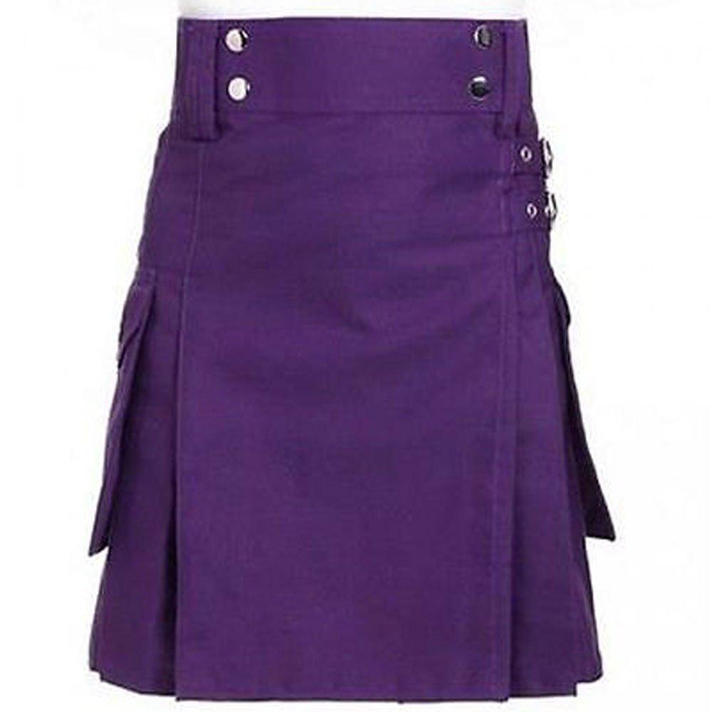 """34"""" New Handmade Purple Cotton Kilt for Active Men, Purple Cotton Utility Deluxe Kilt"""