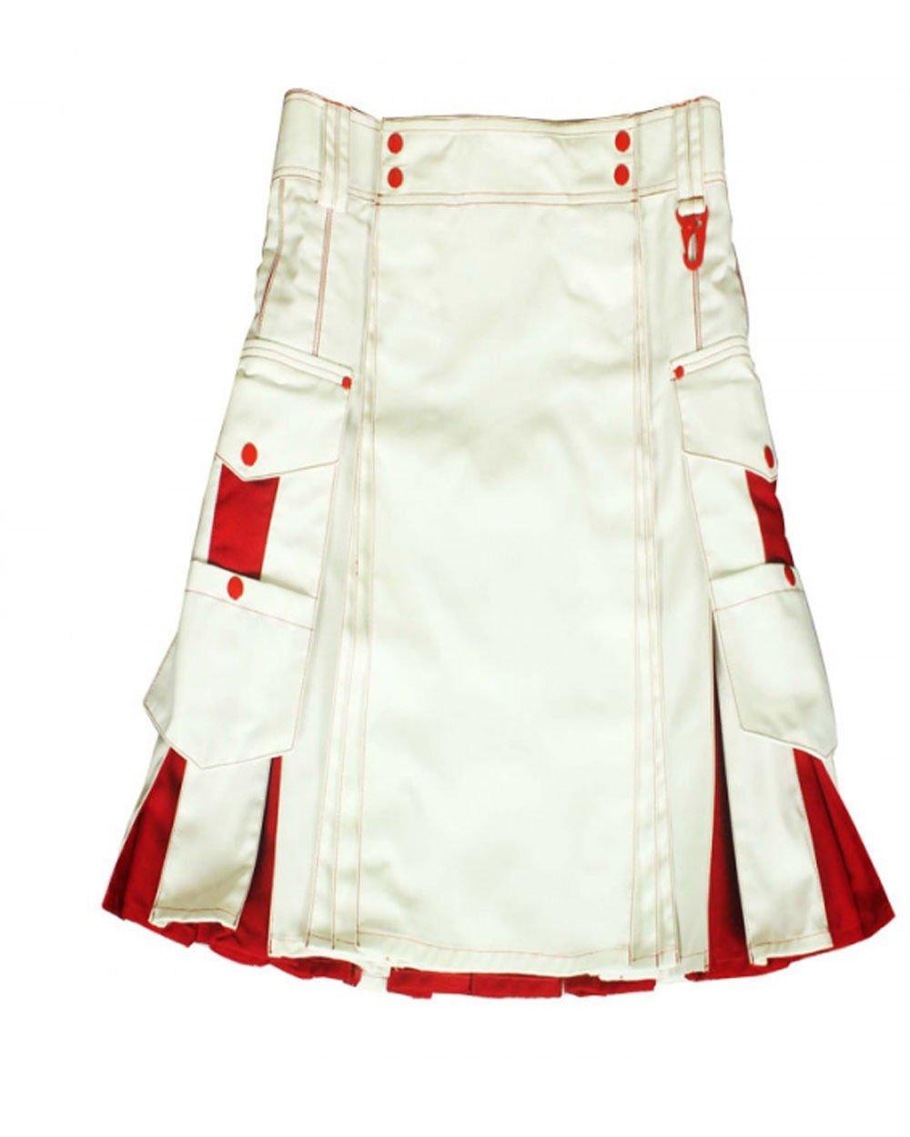 30 Size Handmade White & Red Cotton Kilt for Active Men, Hybrid Cotton Utility Deluxe Kilt