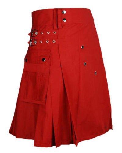 34 Size Taichi Modern Fashion Scarlet & Red cotton Kilt Handmade Utility Kilt
