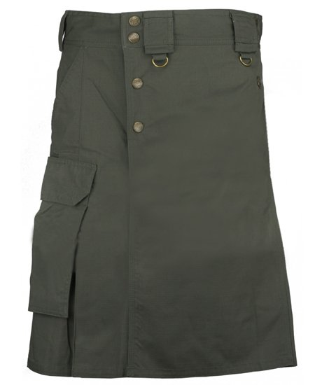 54 Waist Size Taichi Modern Fashion Olive Green Cotton Kilt Handmade Utility Kilt
