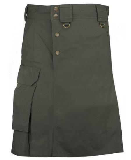 56 Waist Size Taichi Modern Fashion Olive Green Cotton Kilt Handmade Utility Kilt