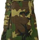 38 Size Men Handmade Digital Army Camo Kilt, Tactical Custom Camping Hiking Kilt