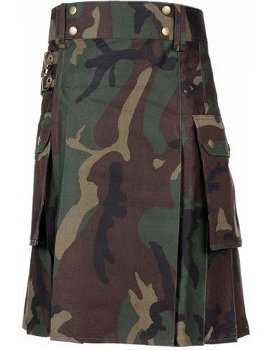 56 Waist Handmade Men Jungle Camo Utility Combat Kilt  With Pockets Cargo Big Pockets