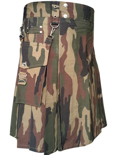 "60"" Men's TDK Handmade Detachable Pockets Camo Kilt, Camo Cotton Heavy Duty Utility Kilt for Men"